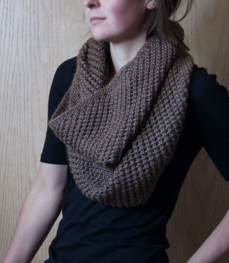 Autopilot Cowl knit in Berroco Lustra yarn