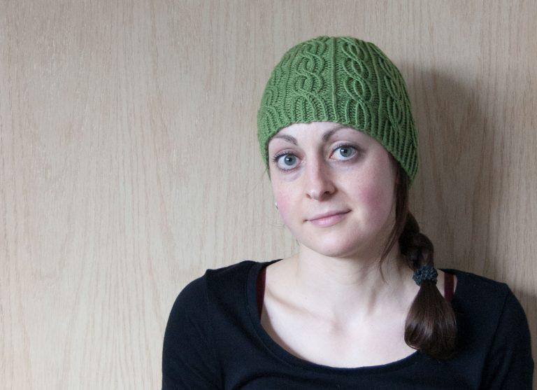 lina hat knitting bavarian twisted stitches