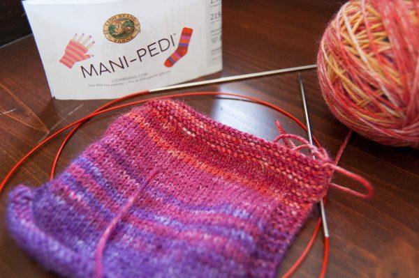 Lion Brand Mani-Pedi sock yarn knit