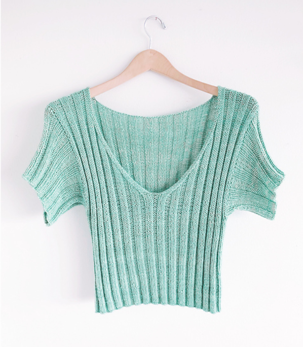 Ripple Crop Top Worsted by Jessie Maed Designs.  Recommended pattern for Loops & Threads Creme Cotton yarn.