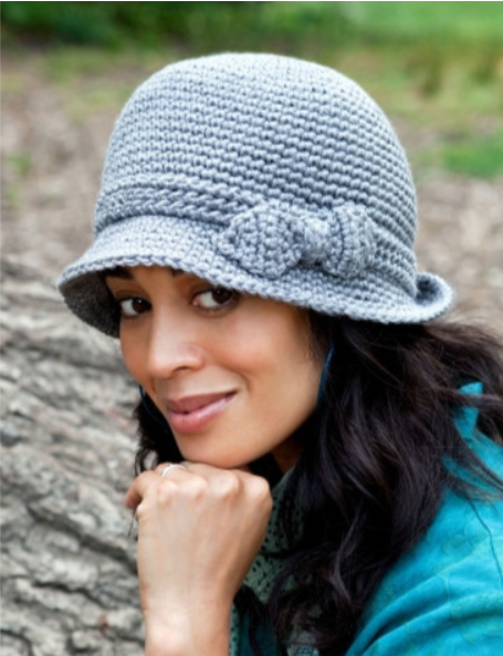 Elegant Crochet Hat by Caron. Recommended pattern for Loops & Threads Creme Cotton yarn.