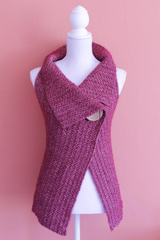 Peak-a-Boo Button Wrap by Miss Neriss. Recommended pattern for Loops & Threads Creme Cotton yarn.