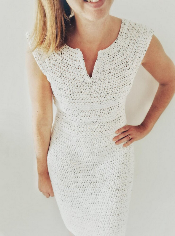 Summer Bee Crochet Dress by Coffee & Crocheting. Recommended pattern for Loops & Threads Creme Cotton yarn.