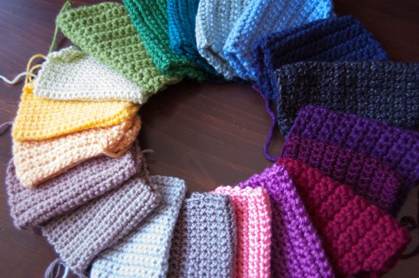 Rainbow of crochet swatches