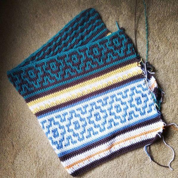 beginning of nya mosaic blanket using premier yarn basic