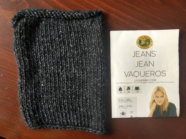 lion brand jeans yarn swatch washed