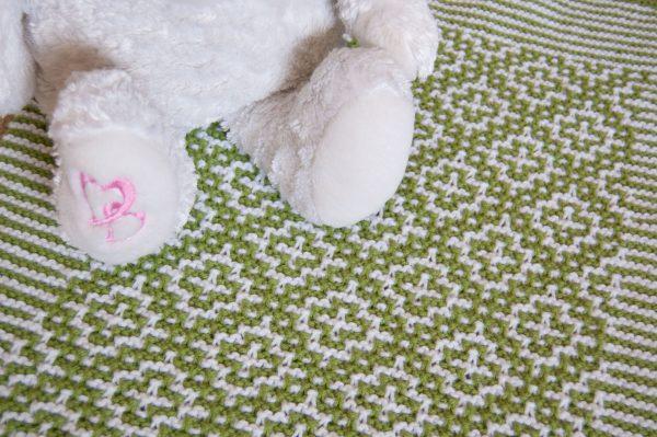 mosaic knitting baby blanket green white