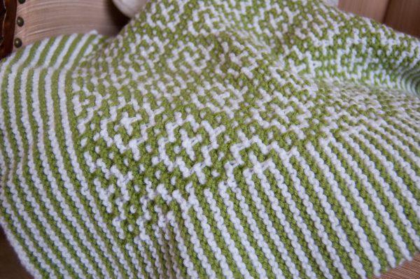 mosaic knitting blanket closeup baby