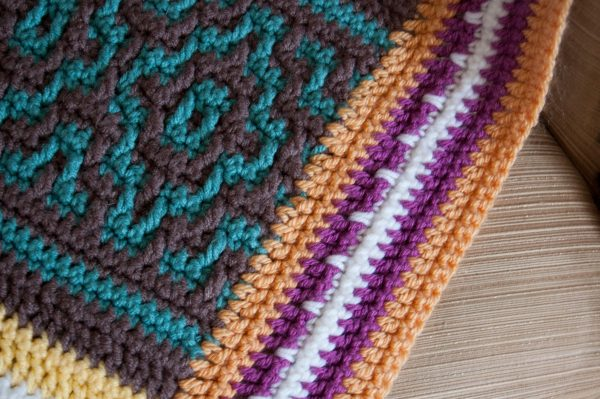 closeup of mosaic crochet blanket nya
