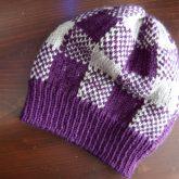colorwork knit plaid hat