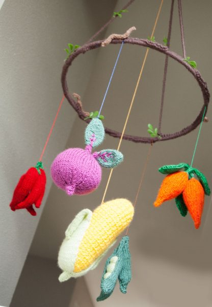 completed vegetable baby mobile