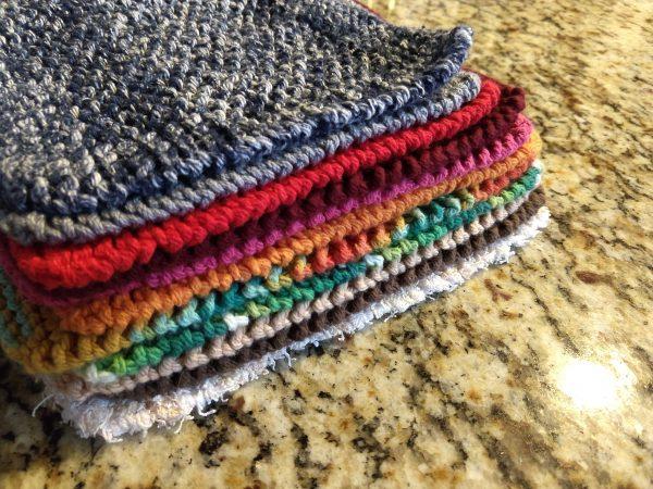 colorful knit cotton dishcloths